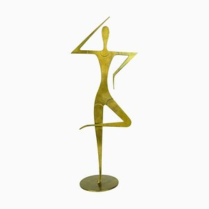 Mid-Century Austrian Brass Female Gymnast Sculpture by Franz Hagenauer