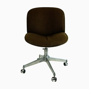 Italian Mid-Century Rosewood and Brown Fabric Office Chair by Ico Parisi for Mim