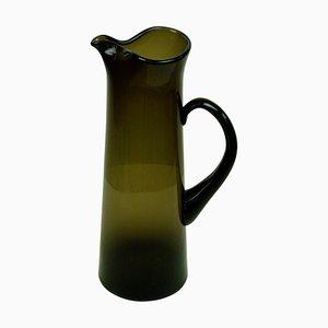 Brocca moderna in vetro verde scuro di Per Lutken per Holmegaard, Scandinavia