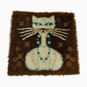 Dänischer Vintage Teppich aus Hochflor in Braun und Blau mit Weißer Katze
