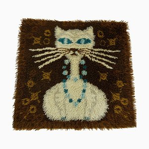 Vintage Danish High Pile Brown and Blue Wool Rug with White Cat