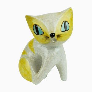 Mid-Century Austrian White and Yellow Glazed Ceramic Cat by Leopold Anzengruber