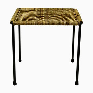 Austrian Mid-Century Black Steel and Wicker Side Table / Stool by Carl Auböck