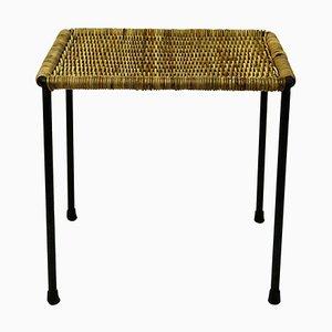 Tavolino / sgabello Mid-Century in acciaio nero e vimini di Carl Auböck, Austria