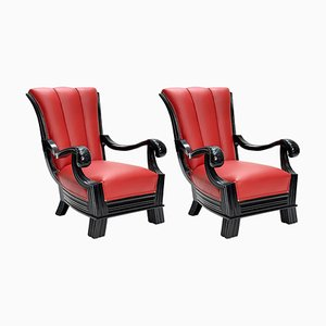 Austrian Red Leather Armchairs Attributed to Otto Prutscher, Set of 2