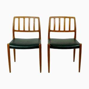 Scandinavian Model 83 Teak Dining Chairs by Niels Otto Möller, Set of 2