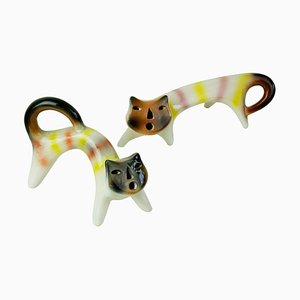 Mid-Century Multicoloured Italian Ceramic Cats by Roberto Rigon, Set of 2