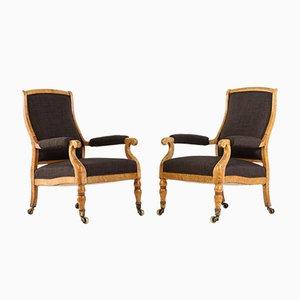 Maple Bird's Eye Armchairs, 1800s, Set of 2