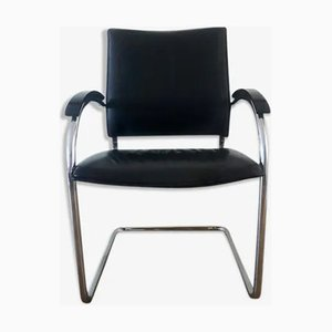 Vintage Black Leather S74 Cantilever Chair from Thonet