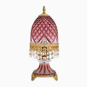 Böhmische Vintage Tischlampe aus Kristallglas