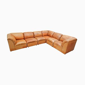 Sectional Faux Leather Patchwork Sofa, 1970s
