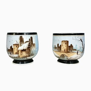 Napoleon III Porcelain Snow Scene Pots, Set of 2