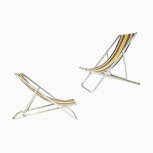 Italian Fabric & Aluminum Deckchairs, 1950s, Set of 2