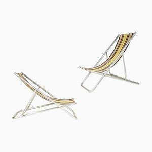 Italienische Liegestühle aus Stoff & Aluminium, 1950er, 2er Set