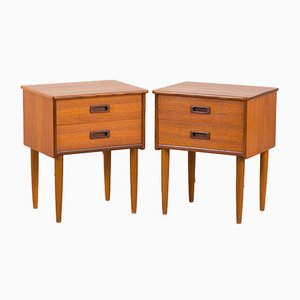 Norwegian Teak 2-Drawer Nightstands with Sculpted Handles, 1960s, Set of 2