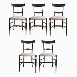 Blackened Walnut Chiavari Dining Chairs by Descalzi, 1807, Set of 5