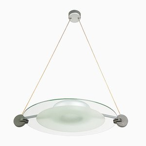 Silver Metal & Sandblasted Glass Cyclos Pendant Lamp by Michele De Lucchi for Artemide, 1985