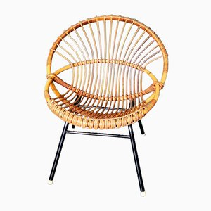 Mid-Century Rattan Chair by Dirk Van Sliedregt for Rohé Noordwolde