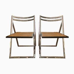 Sedie pieghevoli in acciaio e vimini, anni '70, set di 2