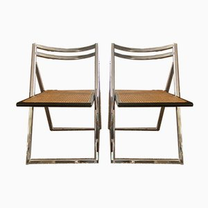 Steel Wickerwork Folding Chairs, 1970s, Set of 2