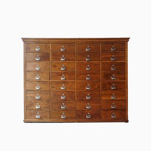 Portuguese Industrial Oak Filing Cabinet with 32 Drawers, 1940s