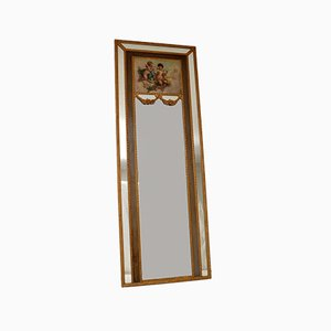 Specchio antico in legno dorato con pittura ad olio