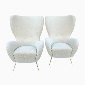 Vintage Cream Lounge Chairs, 1970s, Set of 2