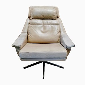Chaise Pivotante Vintage en Cuir & Métal, 1950s