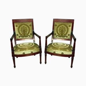 Empire Mahagoni Chefsessel, 1810er, 2er Set