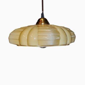 Art Deco Beige Opaline Pendant Lamp, 1920s