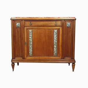 Art Deco Mahogany Buffet with Silver Decorations, 1920s