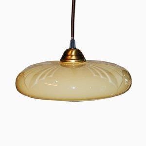 Art Deco Round Beige Opaline Pendant Lamp, 1920s