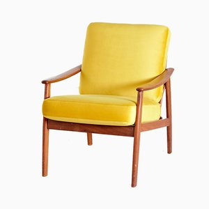 Danish Teak Lounge Chair with Velvet Upholstery, 1960s