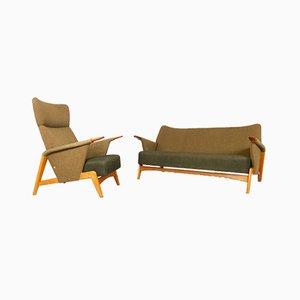 Conjunto de sofá danés vintage de Arne Hovmand-Olsen para Alf. Juul Rasmussen, años 50. Juego de 2