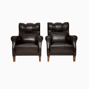 Antique Swedish Leather Lounge Chairs, Set of 2