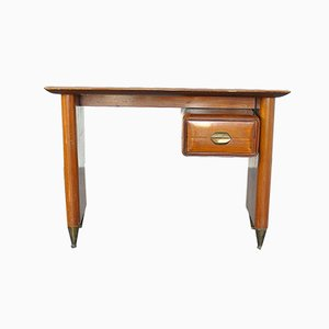 Wooden Desk with Brass Fittings by Vittorio Dassi, 1950s