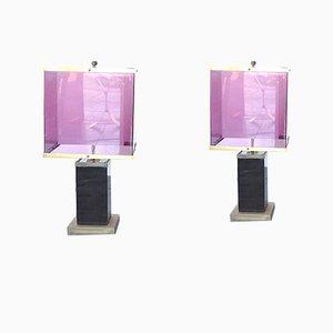 Tischlampen aus Plexiglas & Messing, 1970er, 2er Set
