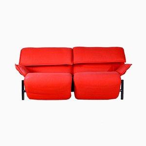Divano a due posti in tessuto rosso di Vico Magistretti per Cassina, anni '80