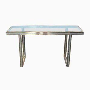Brass, Steel & Glass Console Table, 1970s
