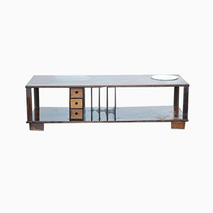 Coffee Table with Newspaper Rack, Drawers & Plant Compartment, 1960s