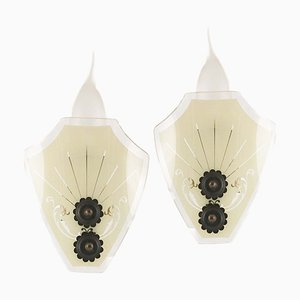 Art Deco Pastel-Colored Glass & Burnished Bronze Sconces by Paolo Buffa for Strada Milano, 1940s, Set of 2