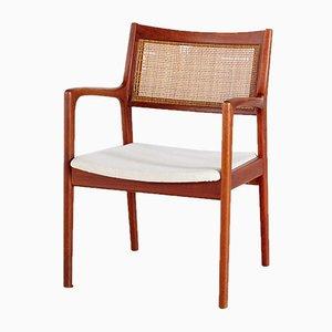 Danish Teak Armchair With Wicker Backrest, 1960s