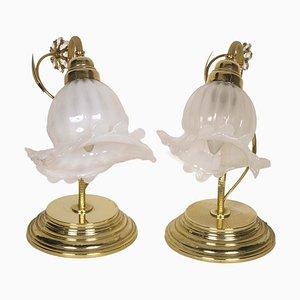 Lampade da tavolo in cristallo, ottone dorato e vetro di Murano soffiato, anni '50, set di 2