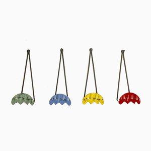 Enamelled Metal Hooks, 1950s, Set of 4