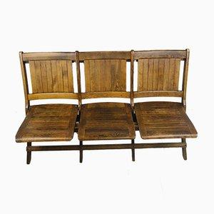 Zusammenklappbare 3-Sitzer Holz Theater Stühle im Stile von Heywood Wakefield, 2er Set