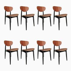 Chaises de Salon en Contreplaqué et Teck Laqué Noir par Cees Braakman, 1950s, Set de 8