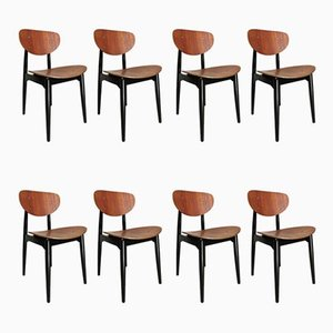 Plywood Teak & Black Lacquered Dining Chairs by Cees Braakman, 1950s, Set of 8