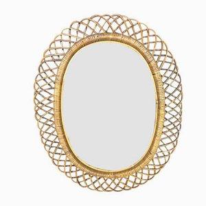 Espejo ovalado de ratán, años 60