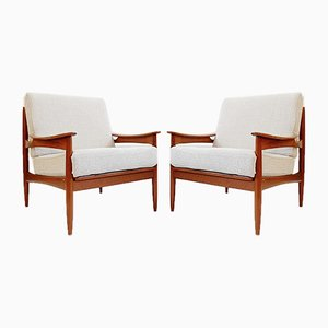 Mid-Century Reupholstered Teak Armchairs, Set of 2