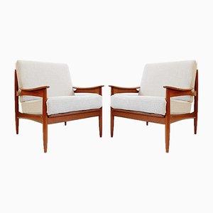 Mid-Century Reupholstered Teak Lehnstühle, 2er Set